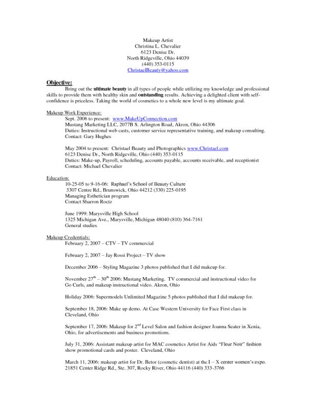 aspiring makeup artist resume | Cartoonview.co