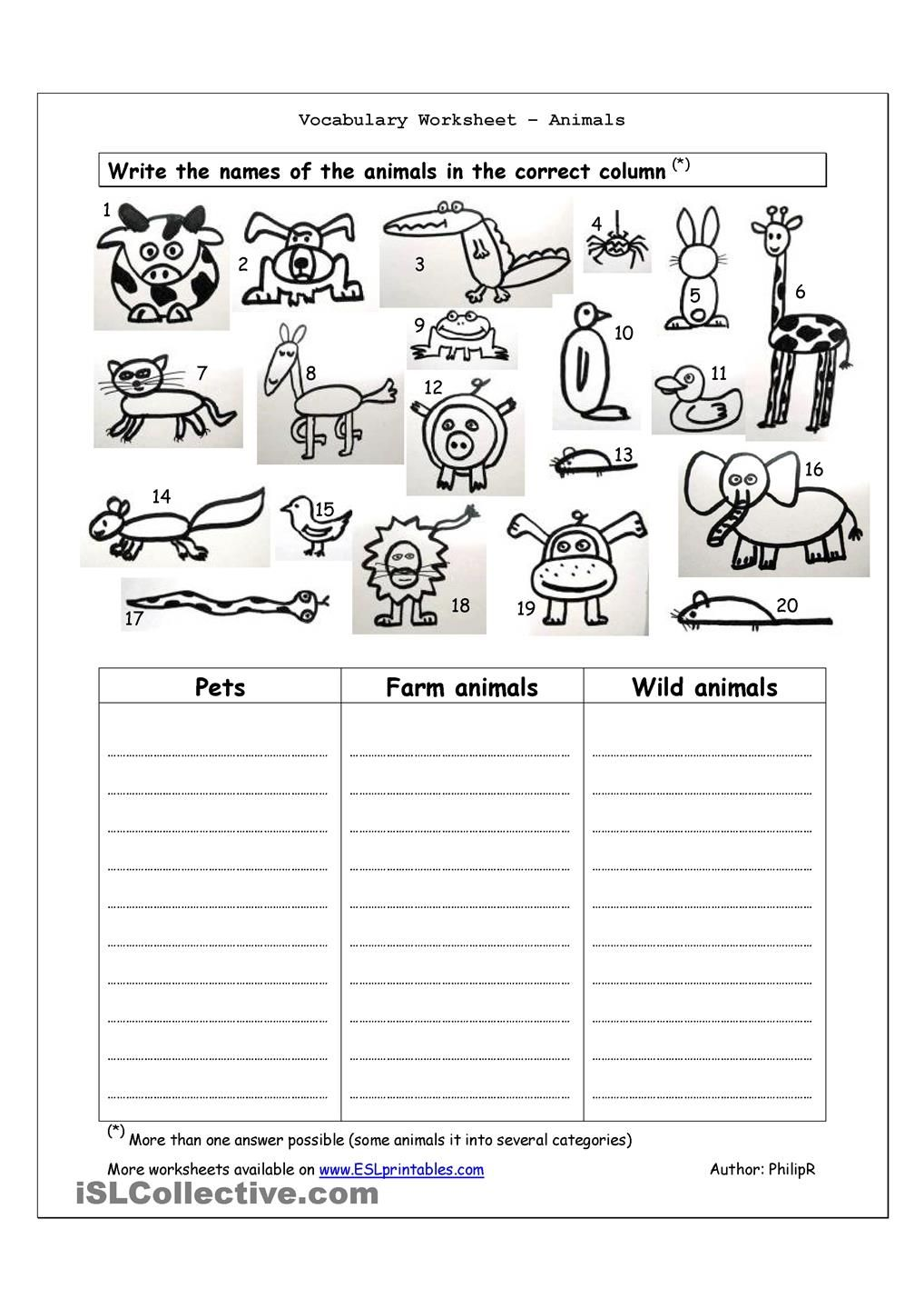 Vocabulary Worksheet Animals English 4th grade