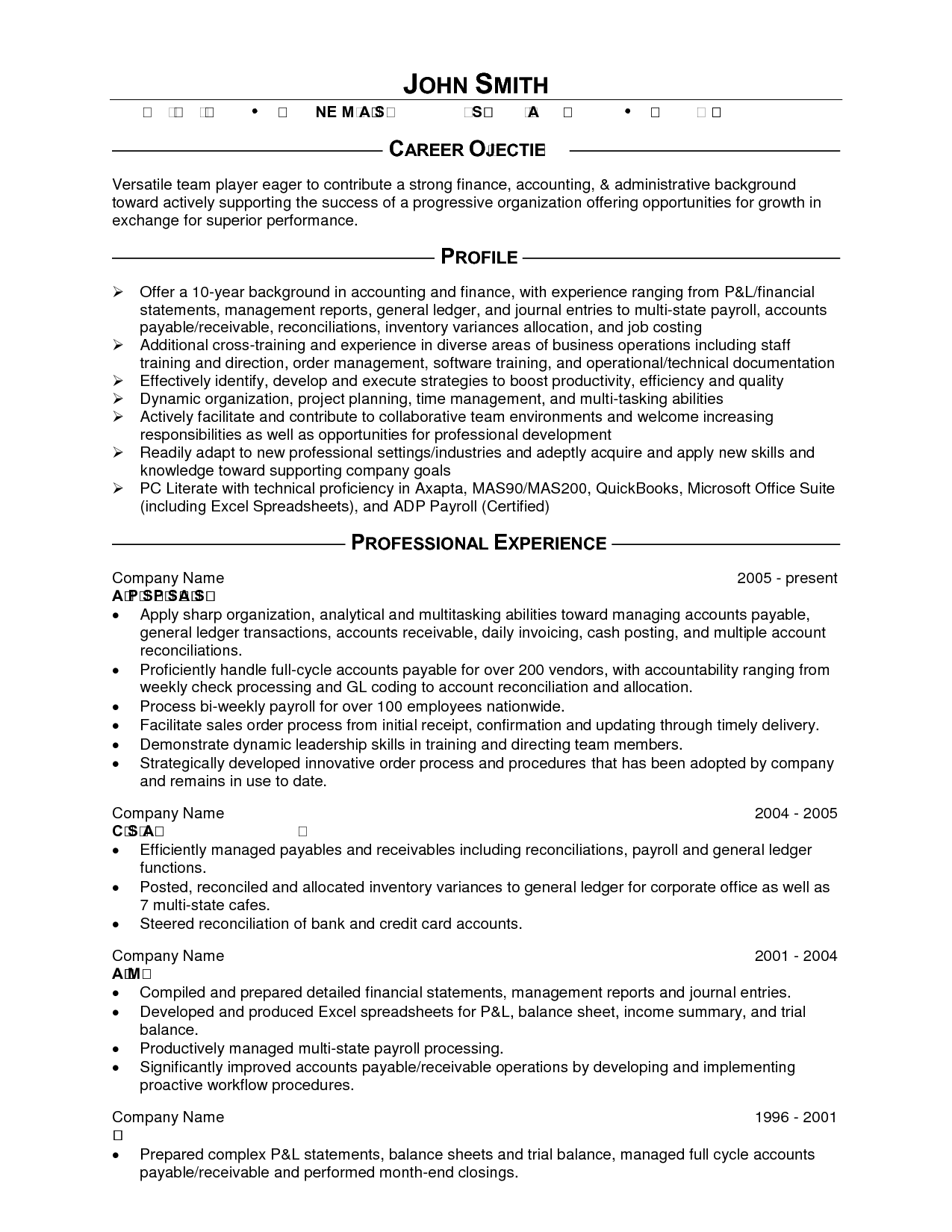 Example Of An Accounting Resume