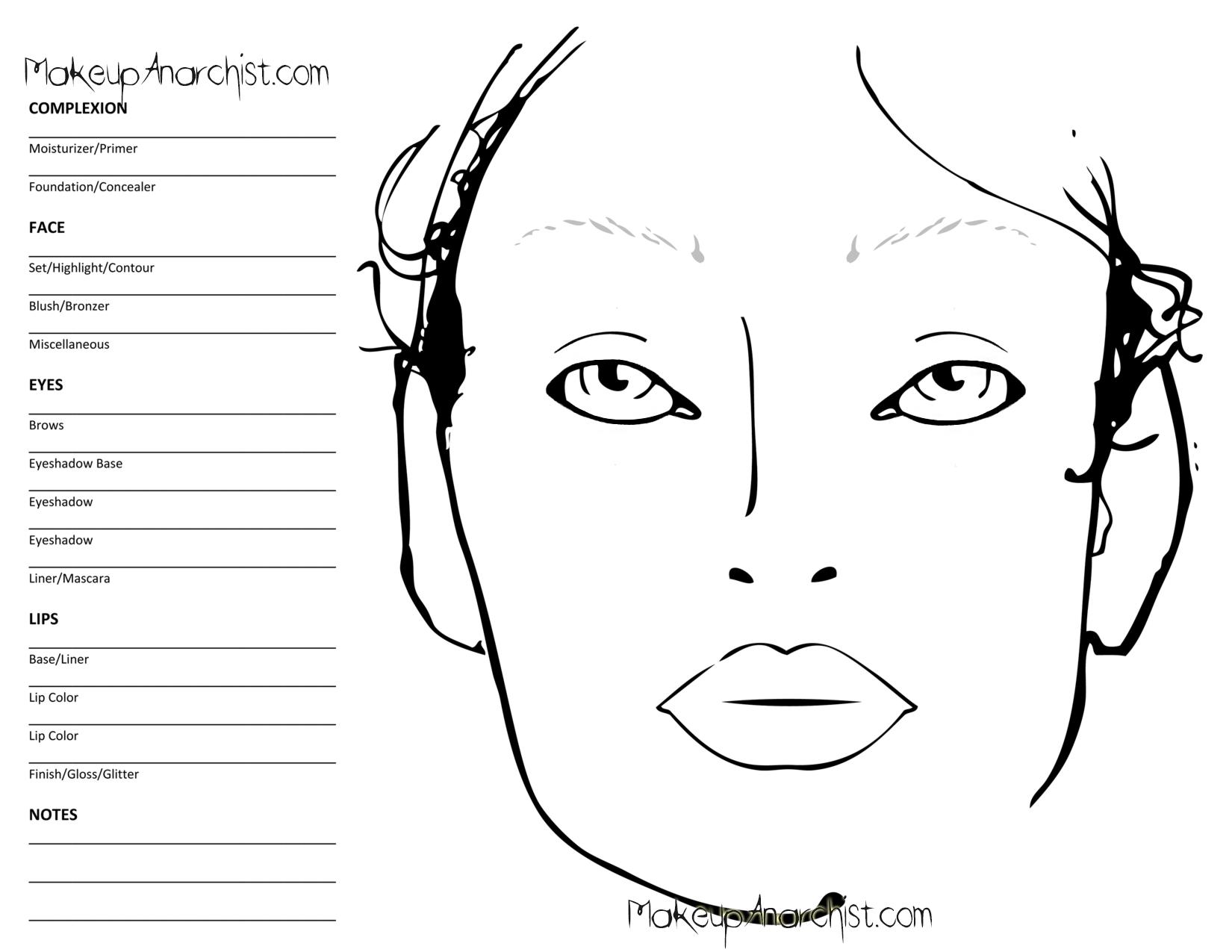 Blank Mac Face Charts
