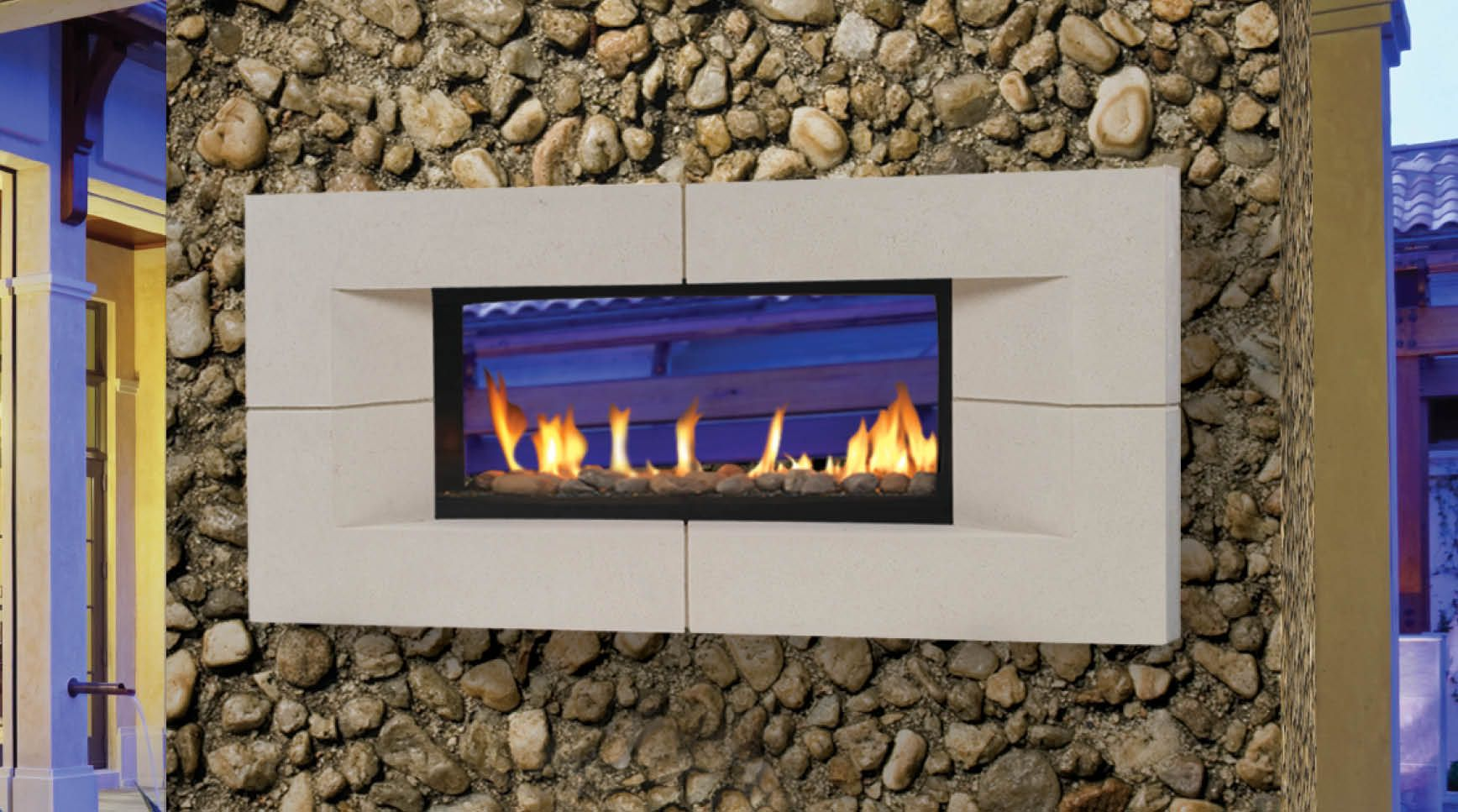 Two Sided Indoor Outdoor Fireplace