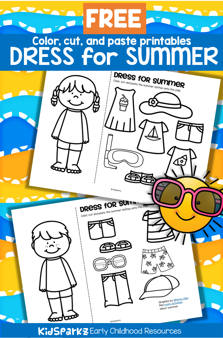 ***FREE*** Color, cut and paste the summer clothes onto