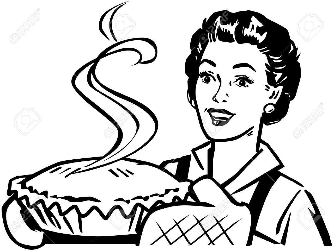 Fresh Baked Pie Stock Vector Retro Vintage Woman