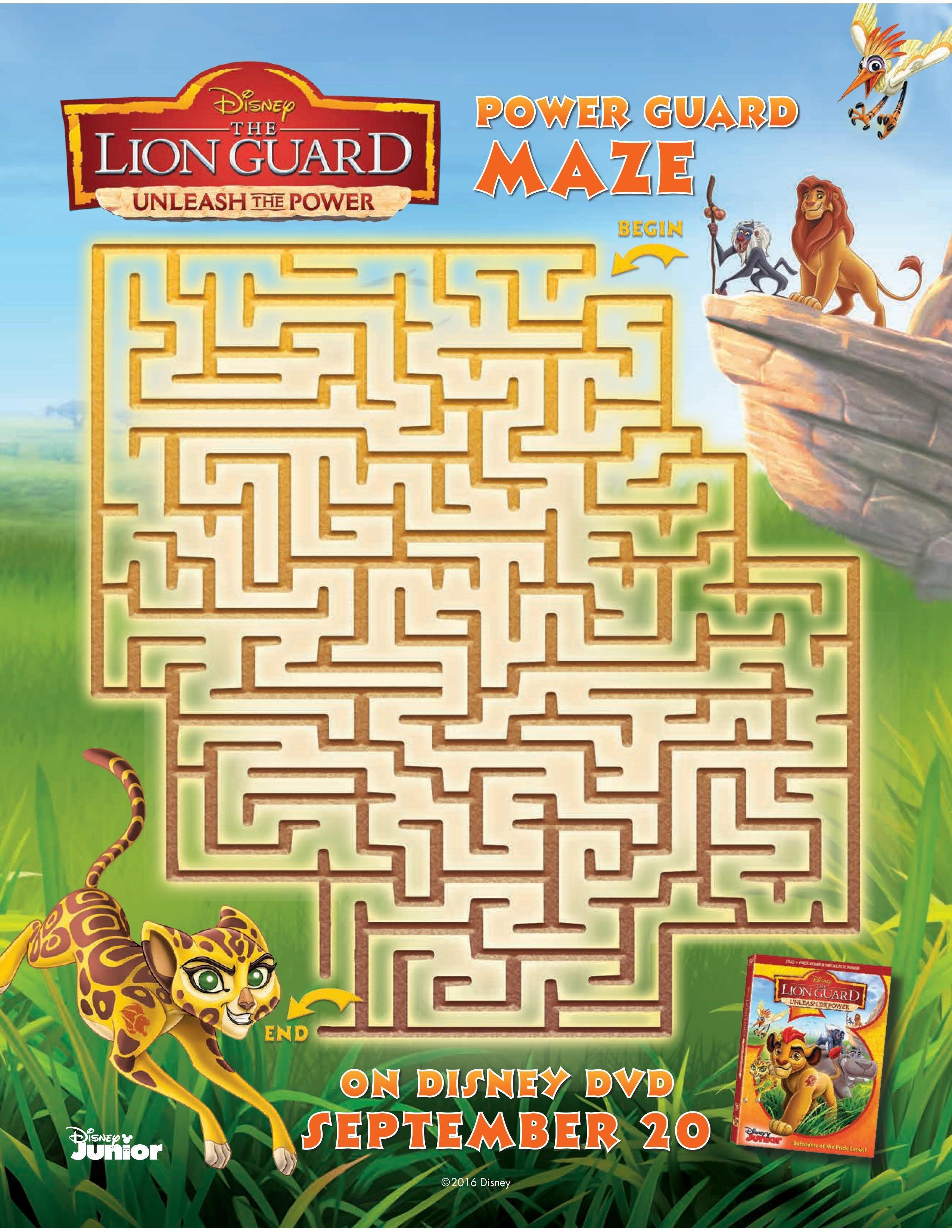 Free Disney Lion Guard Printable Maze