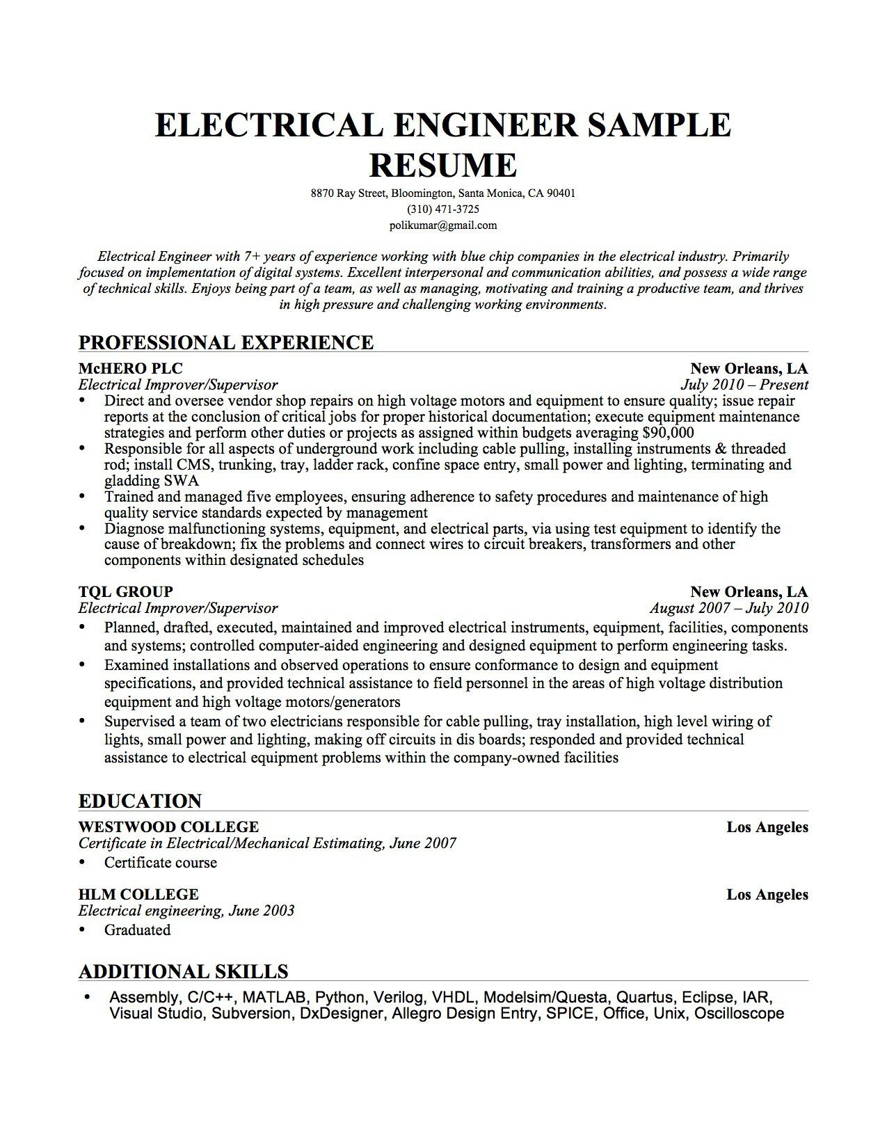 Engineering Resume Cover Letter SamplesFirst Restore