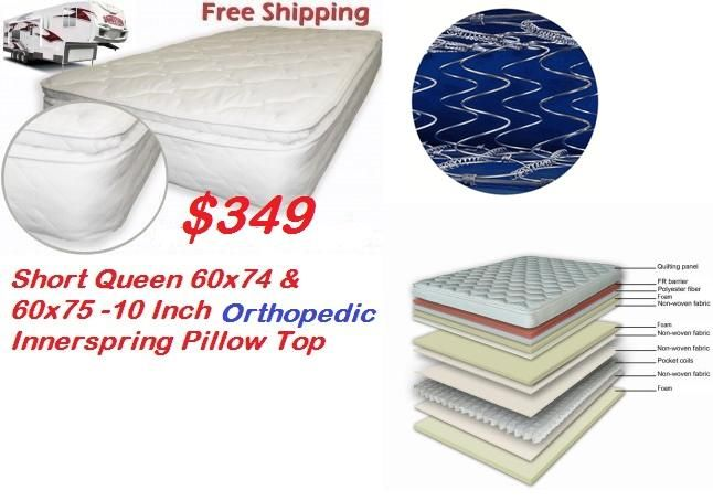 Orthopedic Rv Mattress Innerspring Pillow Top Short Queen 60 X