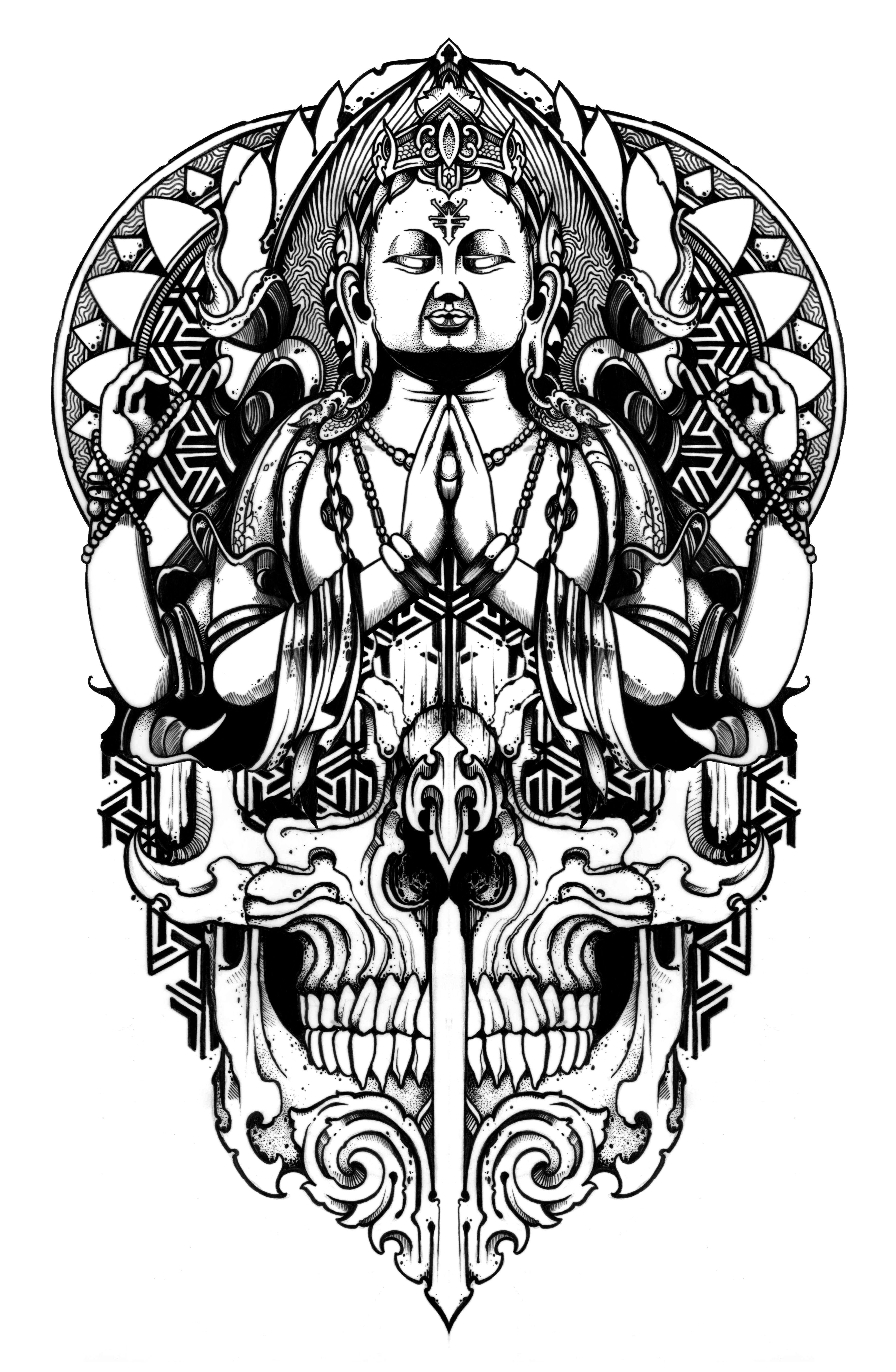 Budhha Mandala Skull Design