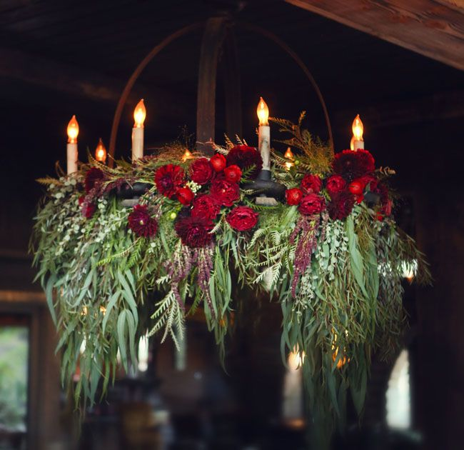 Sleepy Hollow Wedding Inspiration Fl Chandelierfl Garlandcandle