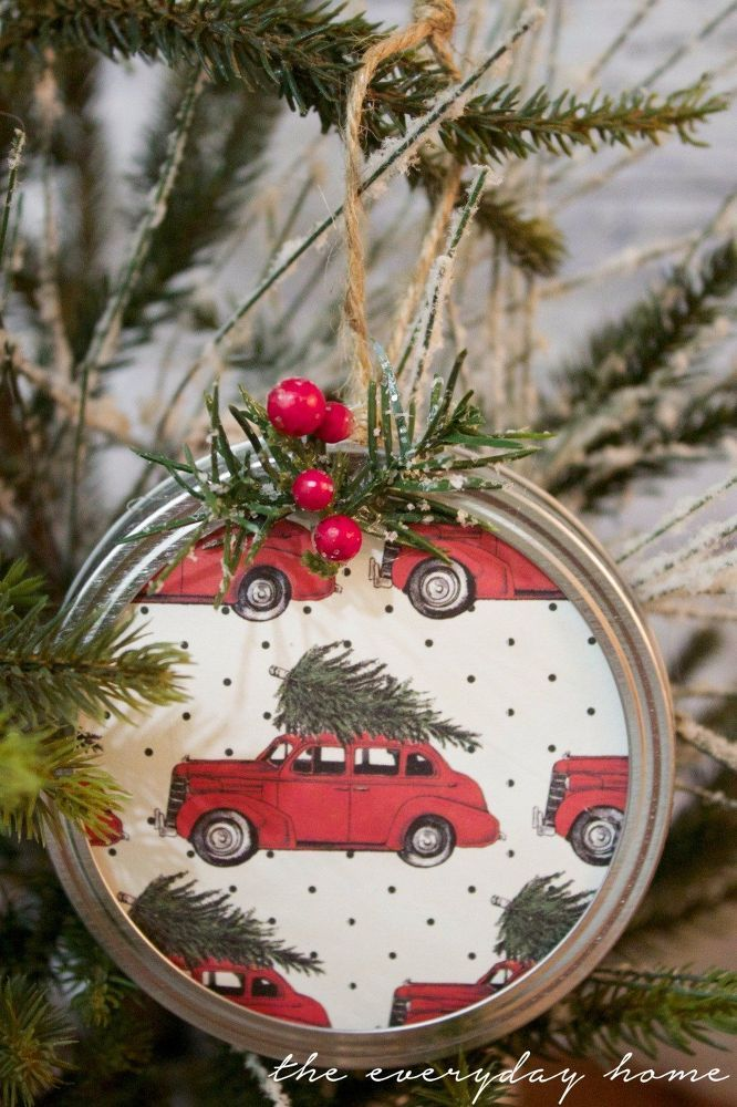 DIY Mason Jar Lid Christmas Ornaments Christmas ornament