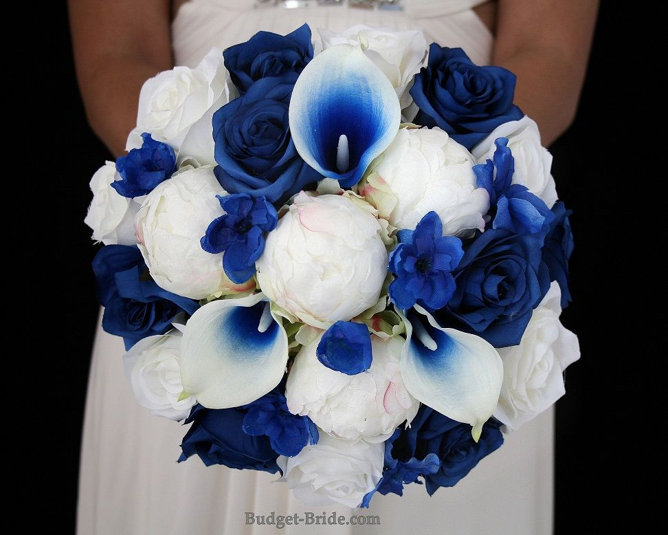 Royal Blue Wedding Flowers With Royal Blue Halo Calla