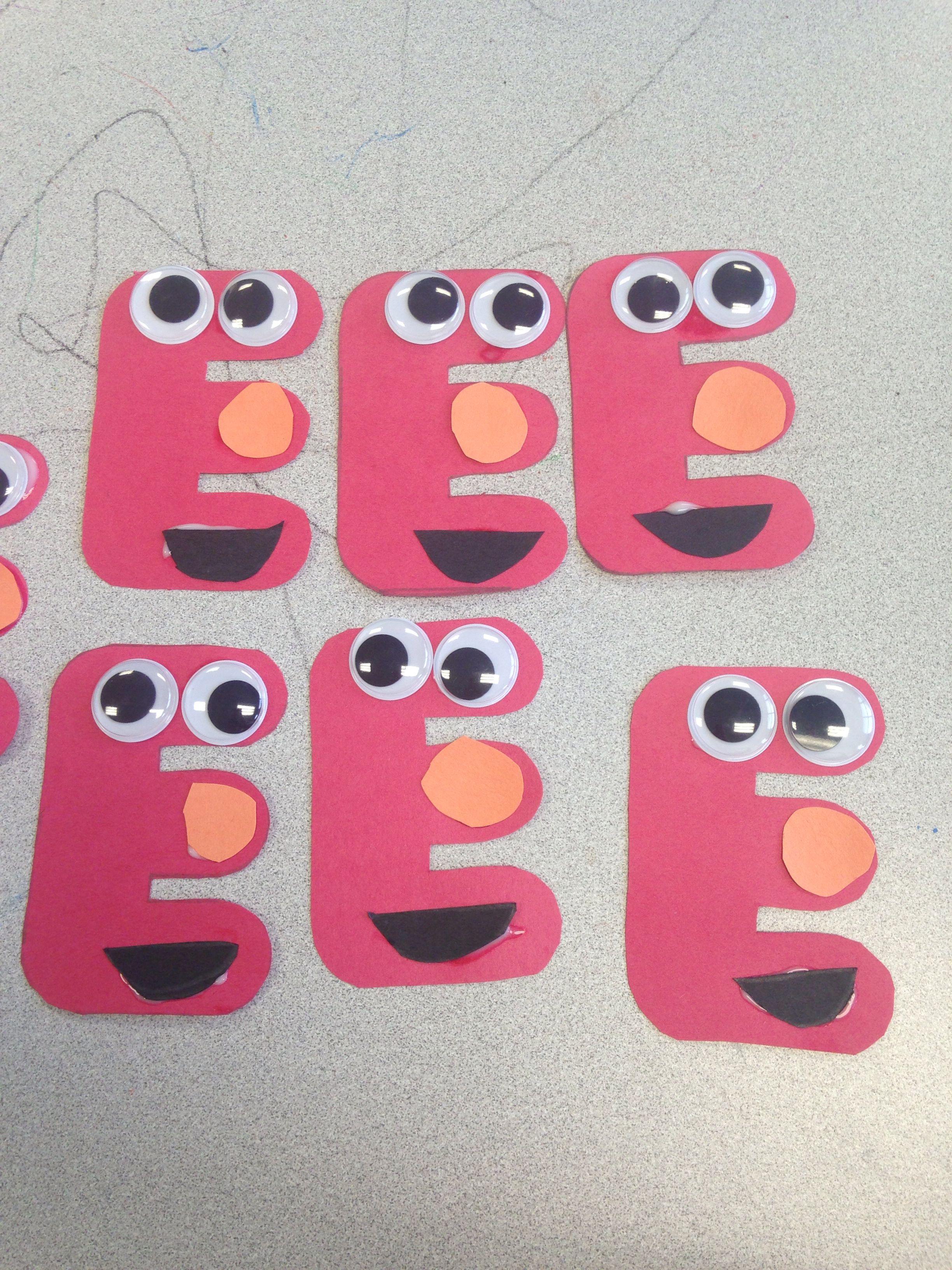 Broken Link But So Cute E Is For Elmo Easy Preschool Craft Activity