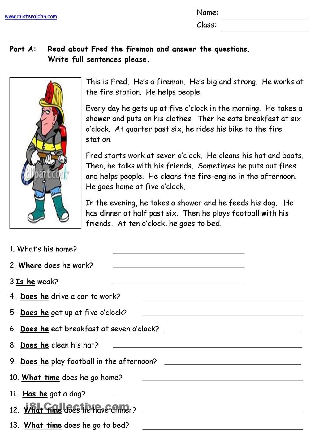 Fred the Fireman Reading Comprehension English grammar