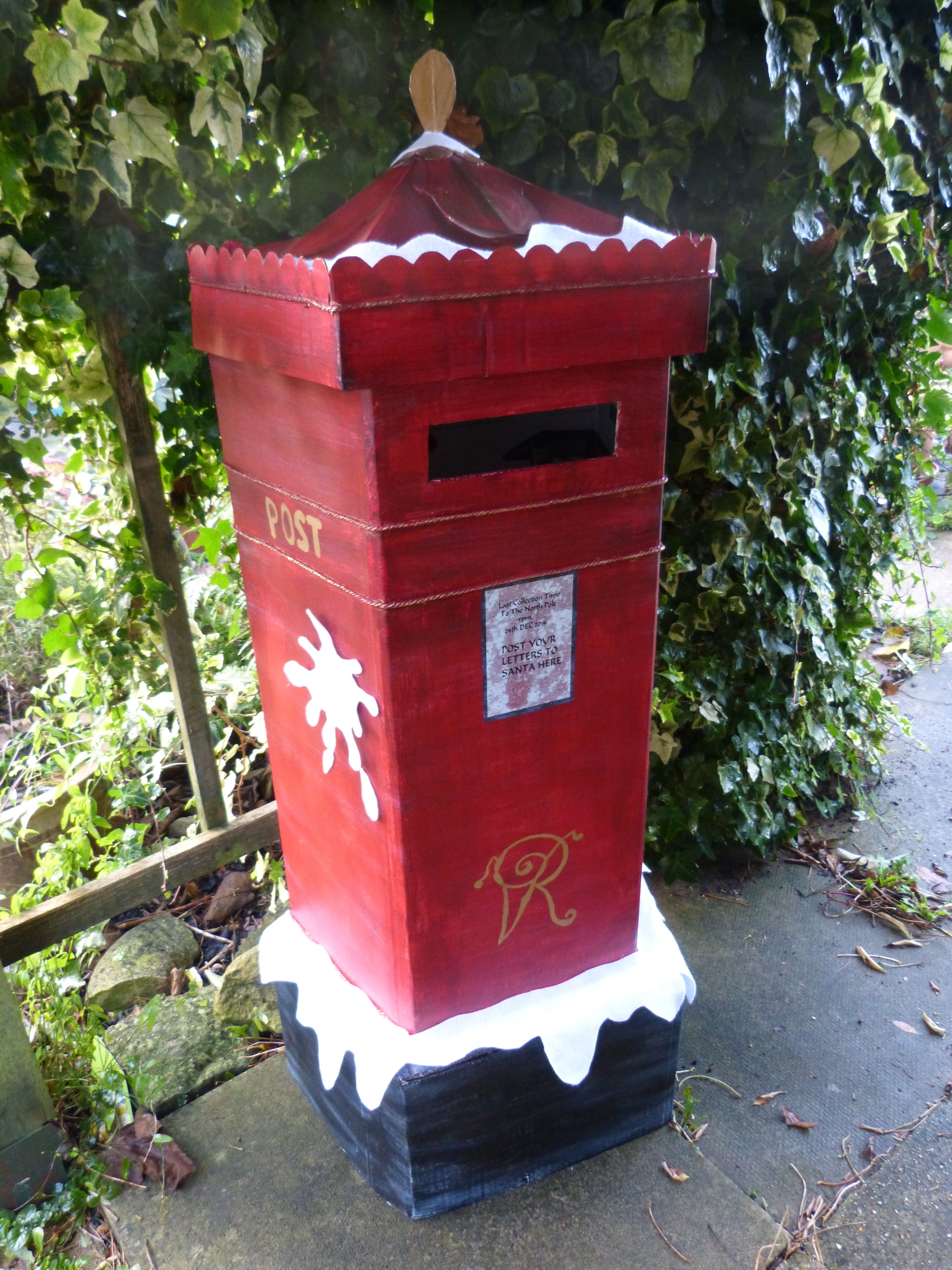 christmas cardboard hand painted victorian post letter box