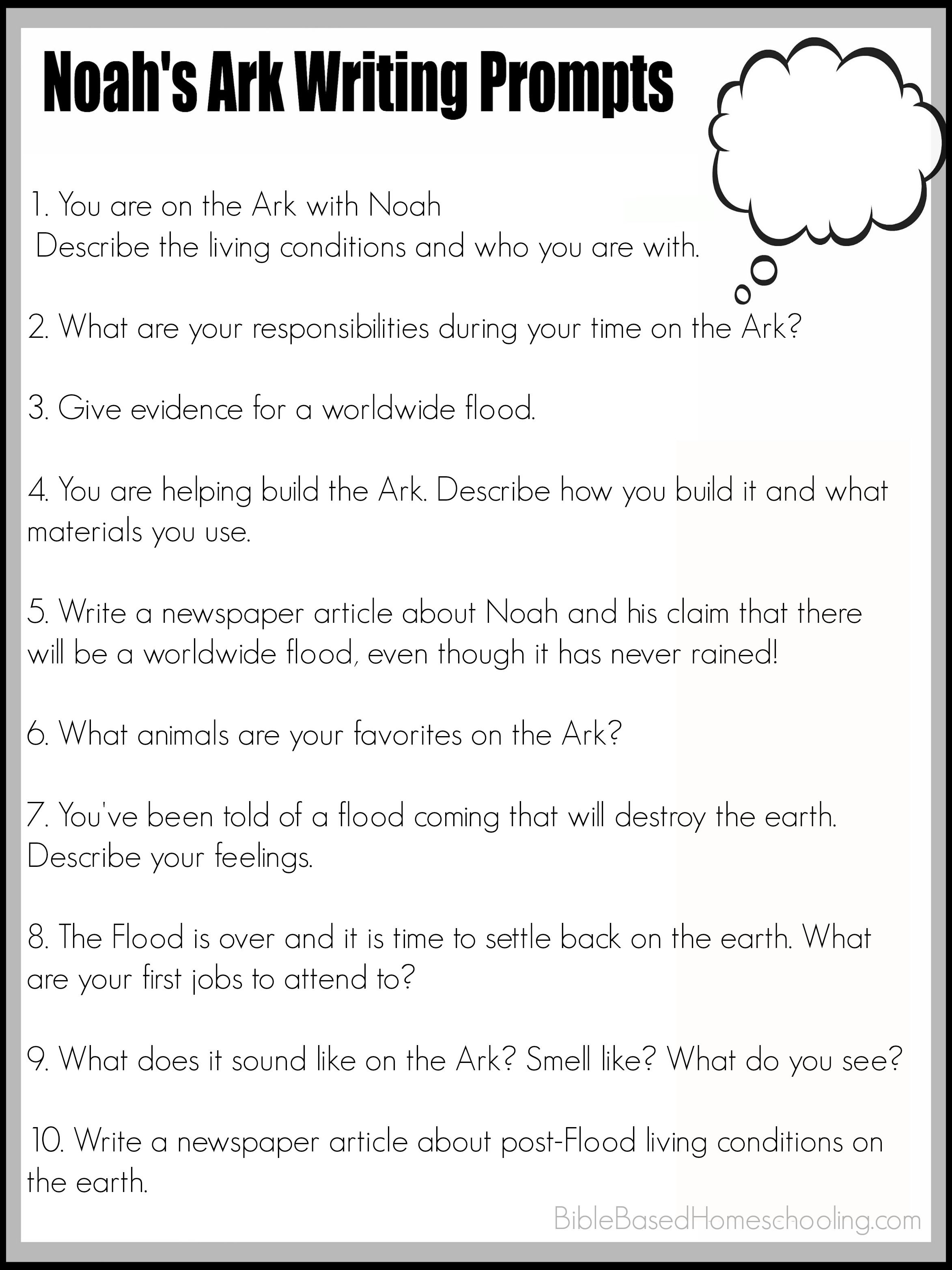 Free Printable Noah S Ark Writing Prompts
