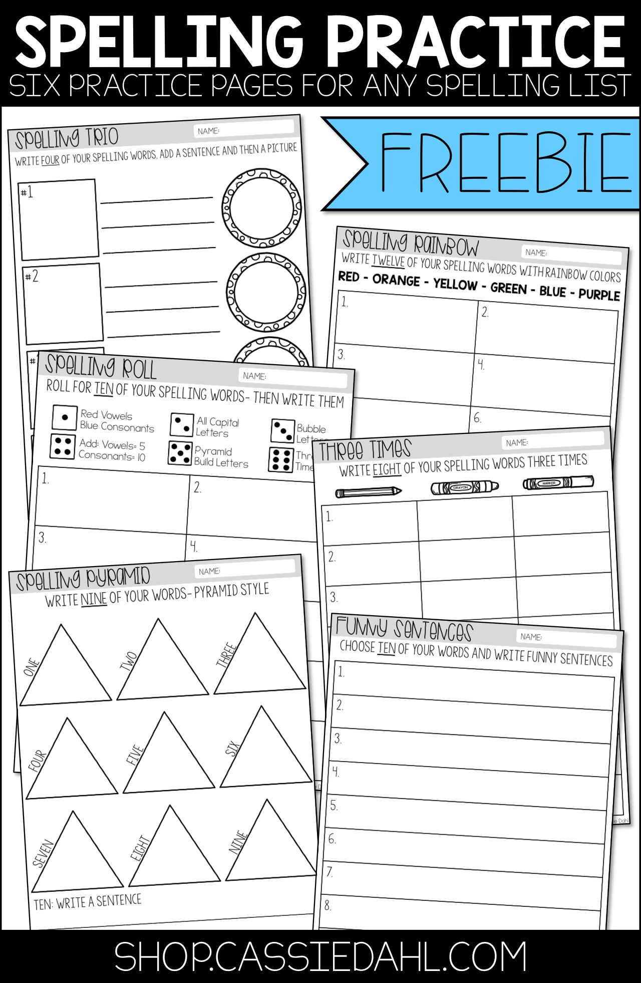 This Freebie Contains Six Practice Pages That You Can Use With Any Spelling List These Sheets