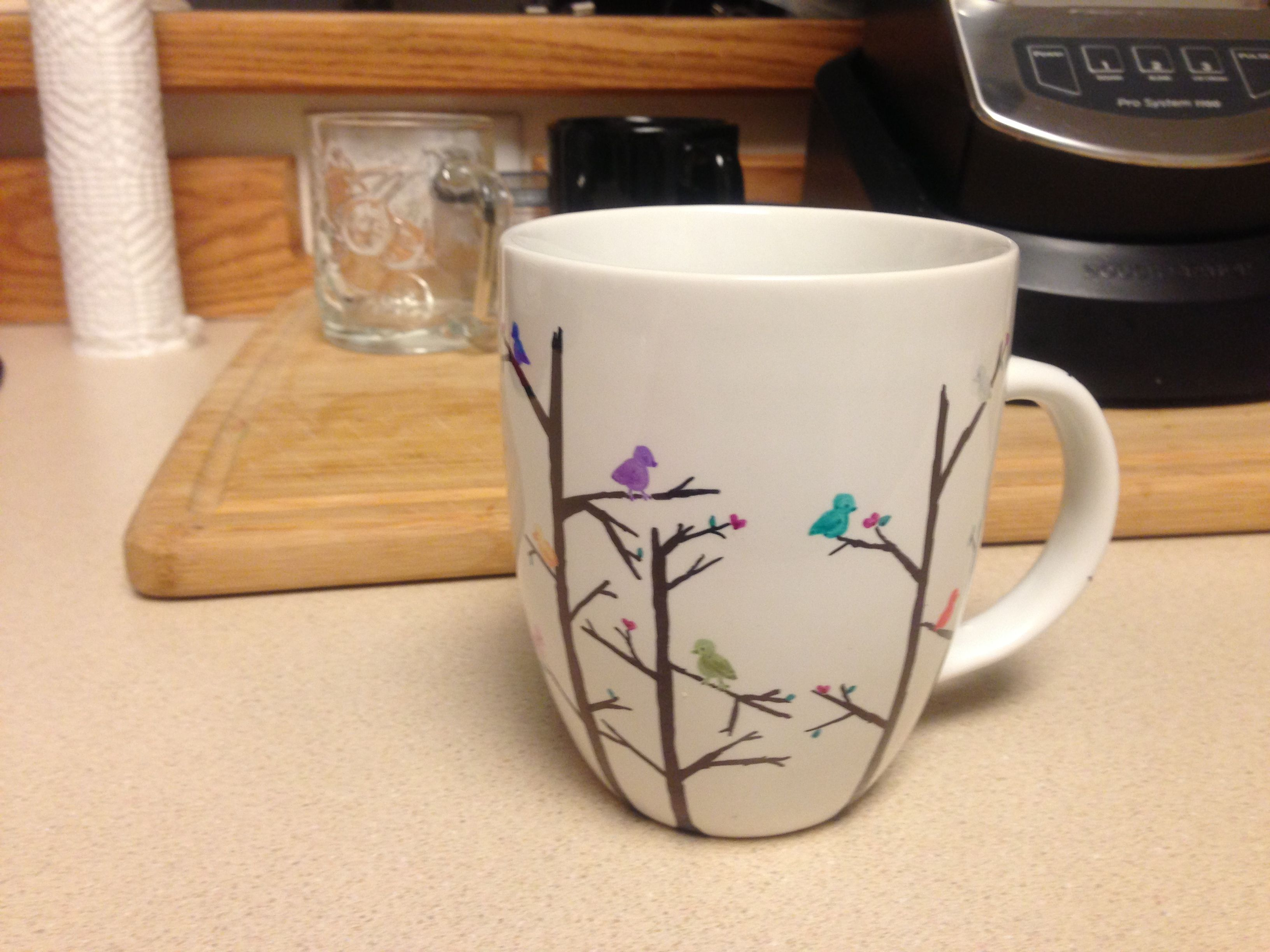 Colored Sharpie design on 5 white mug from Target, bake