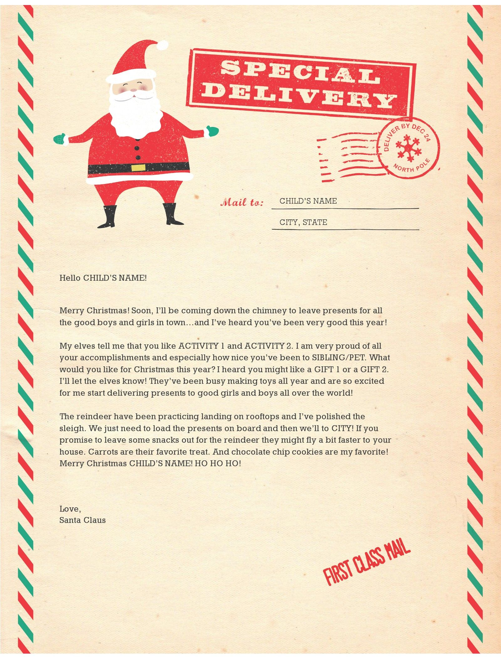 Santa Letter Templates Christmas Joy Pinterest Santa