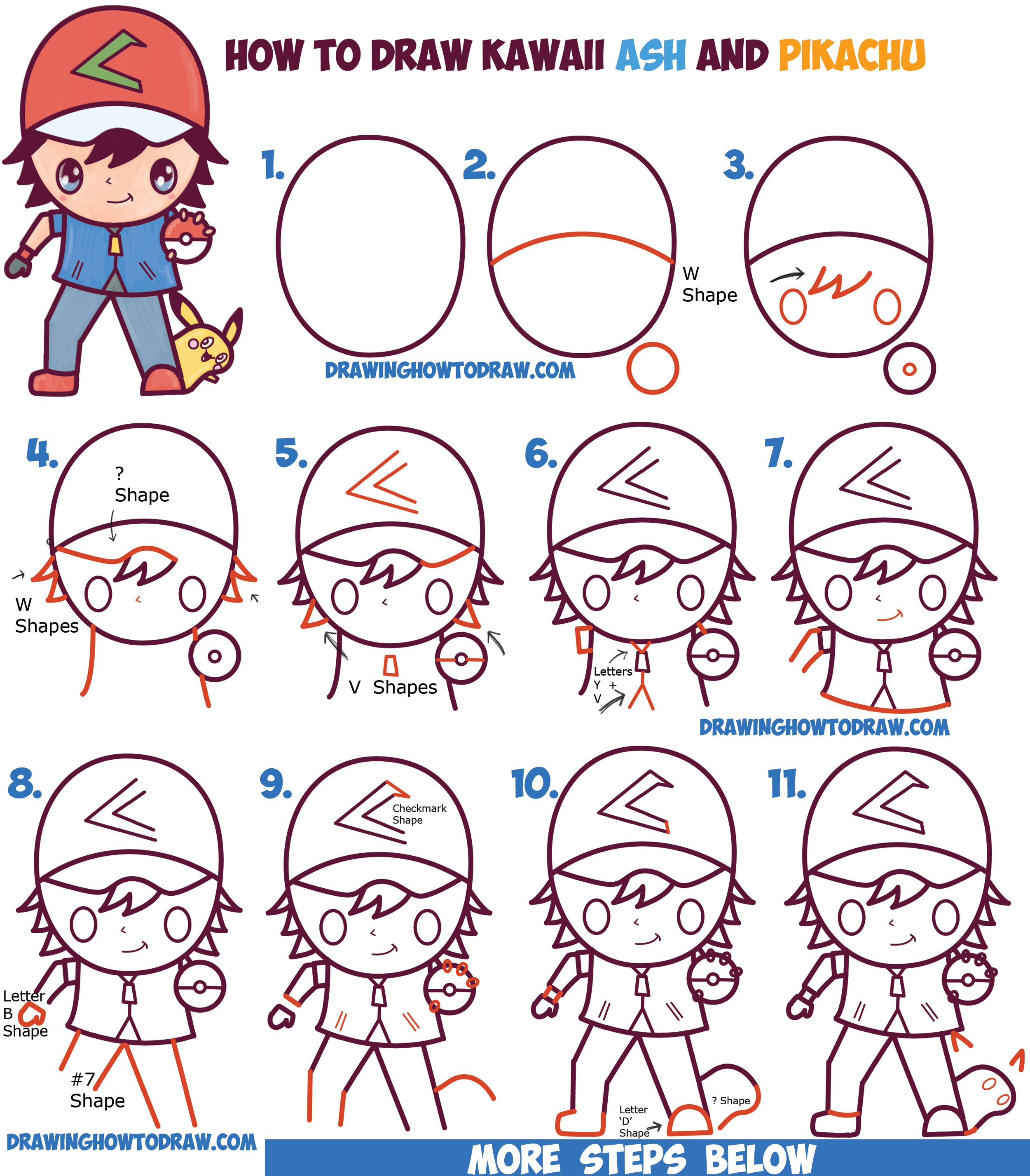 How to Draw Cute Kawaii Chibi Ash Ketchum and Pikachu from