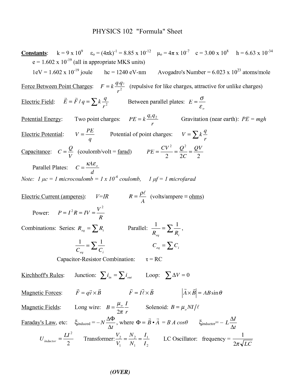 Physics 2 Formulas Almost Every Formula You Need