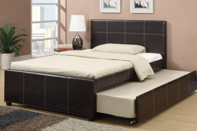 Espresso Faux Leather Full Size Bed With Twin Trundle Slat Kits Included