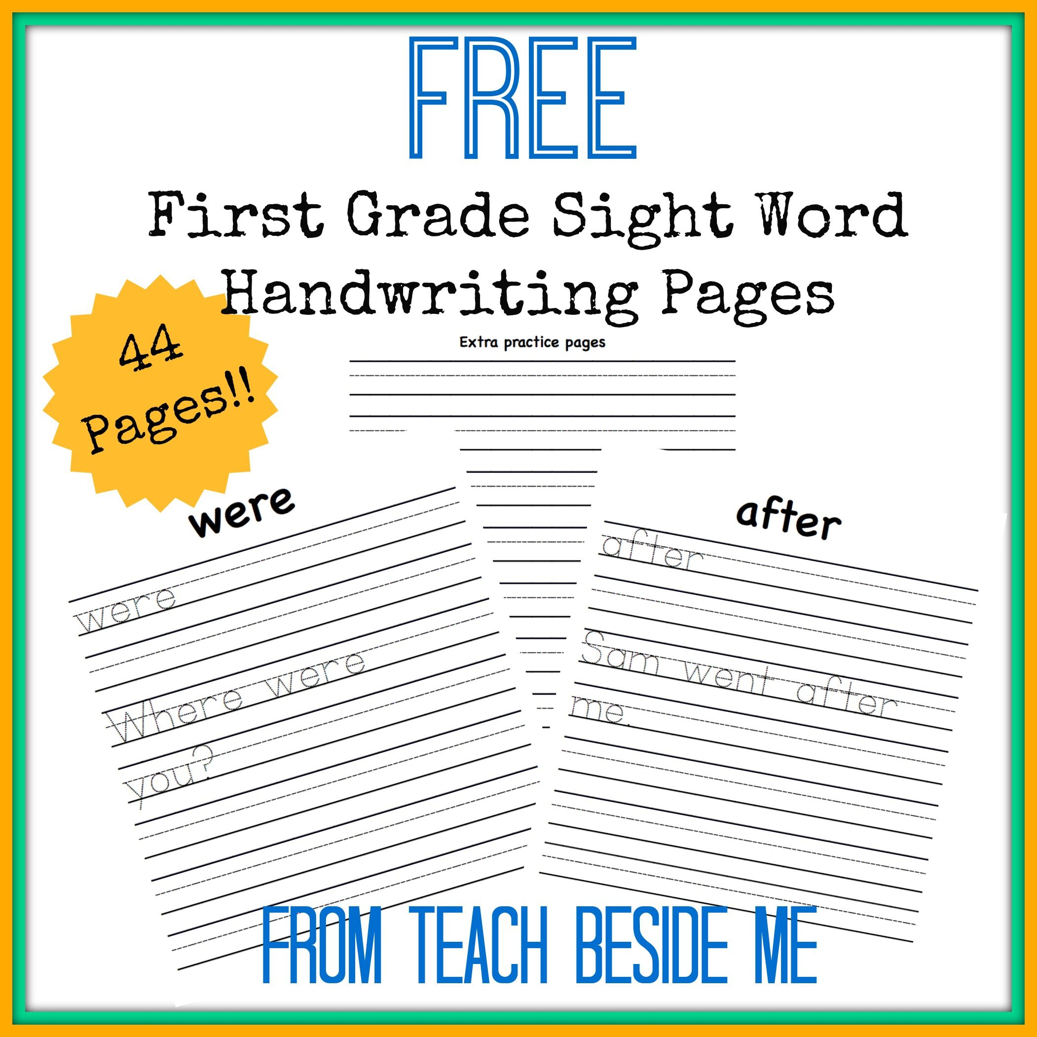 First Grade Sight Word Handwriting Pages