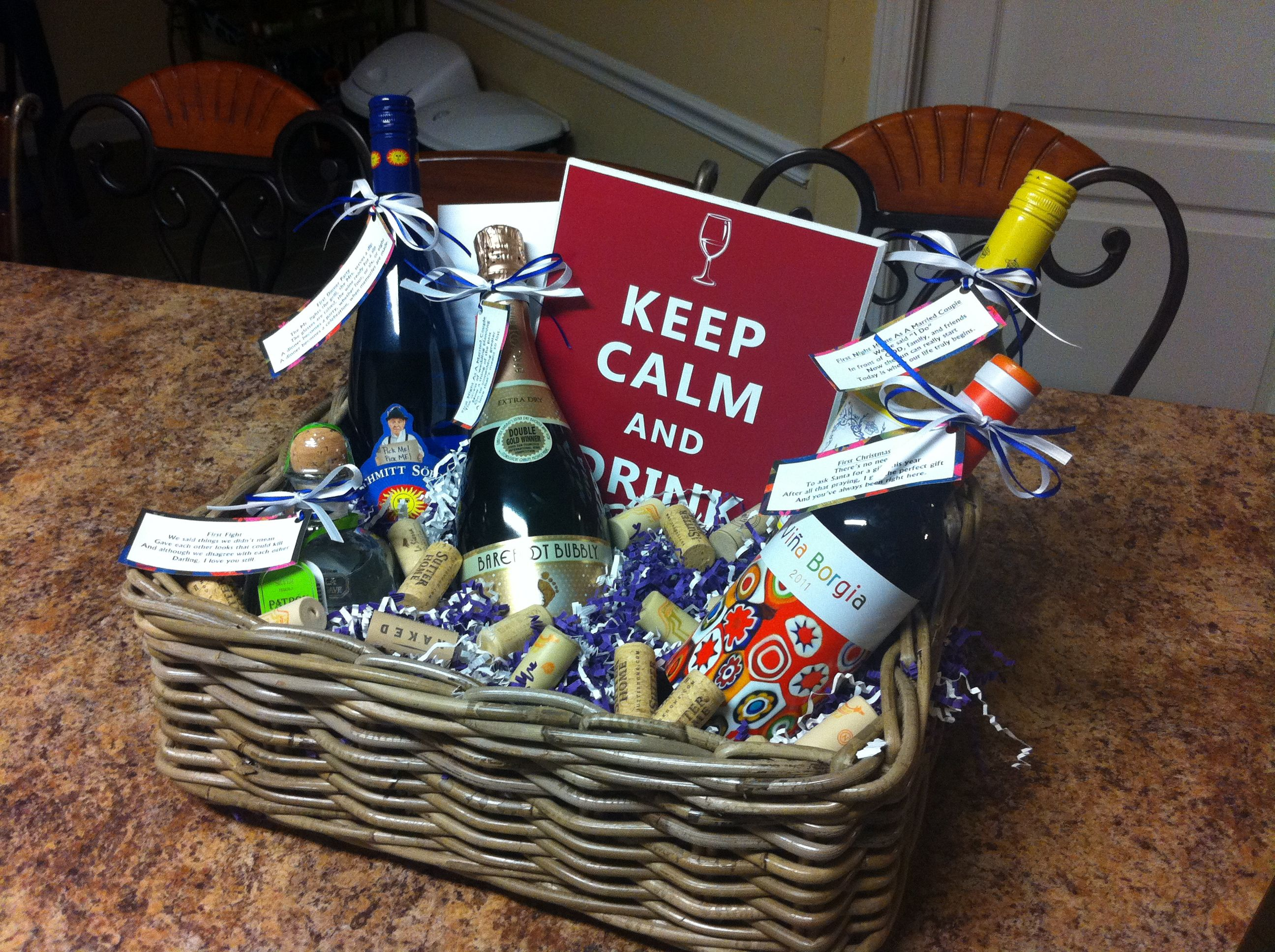 """Basket of Firsts"" for a stock the bar wedding shower"