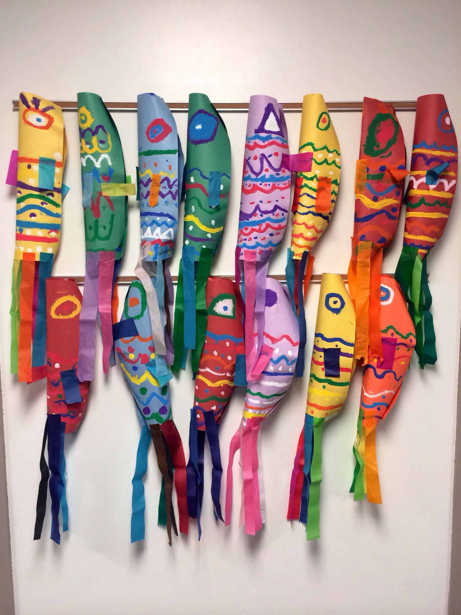 Elementary Art Project Japanese Koinobori Culture Carp Streamers Painting