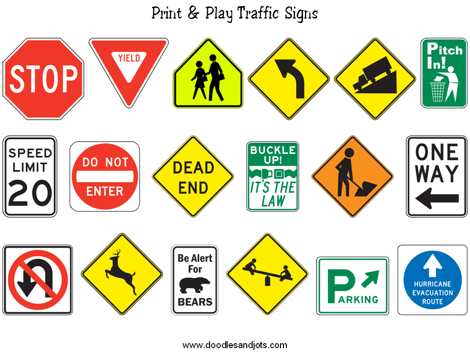 environmental print traffic signs School ideas