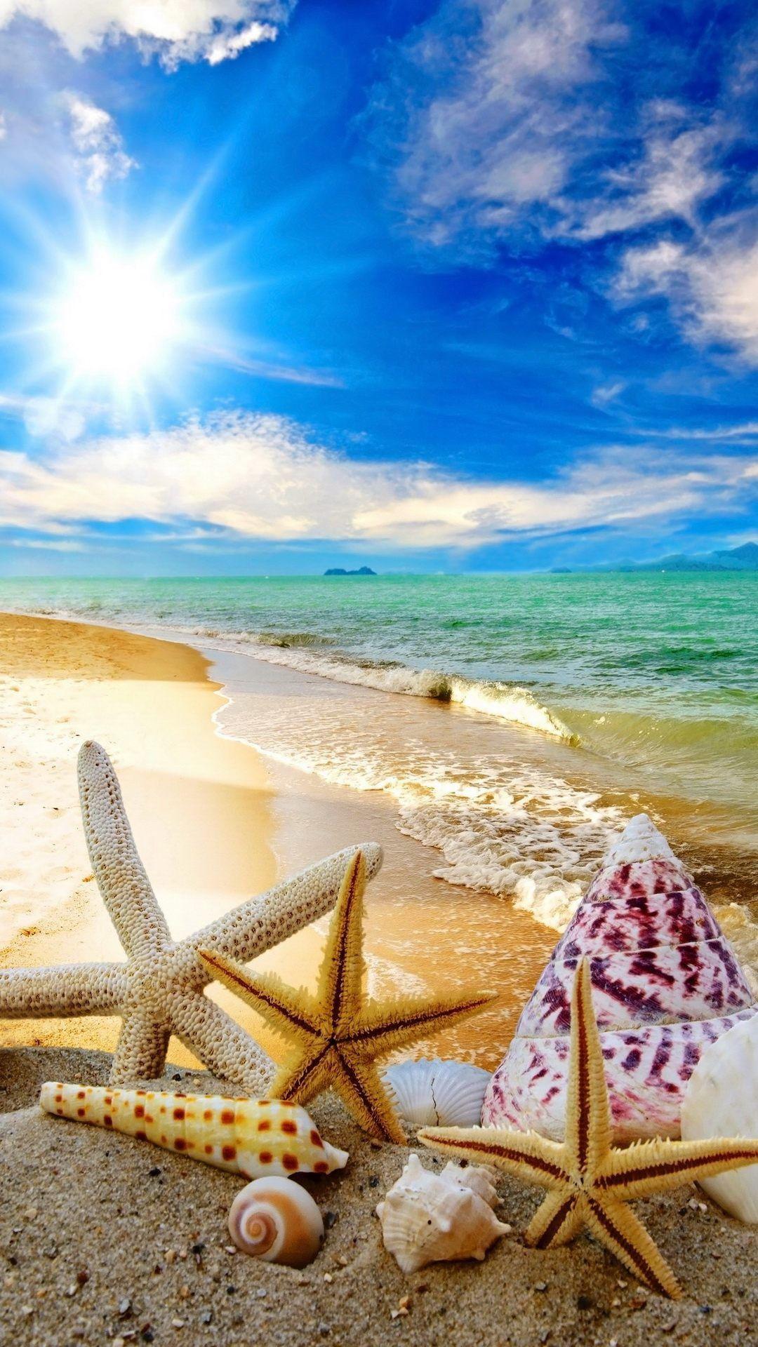 summer beach sun starfish waves android wallpaper hd | cool