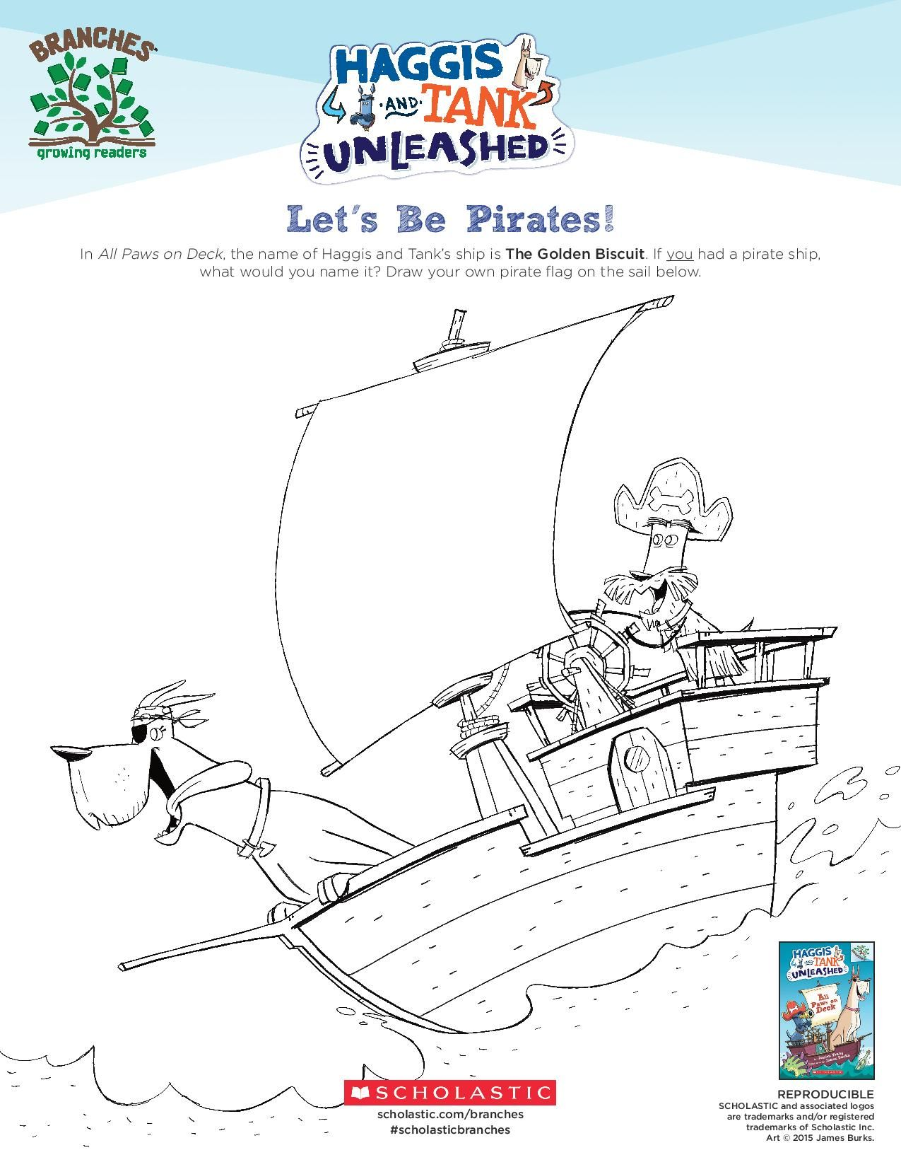 Draw your own pirate ship flag! Let your young reader's