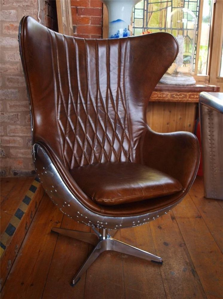 Aviation Aviator Brown Leather & Aluminium Chair