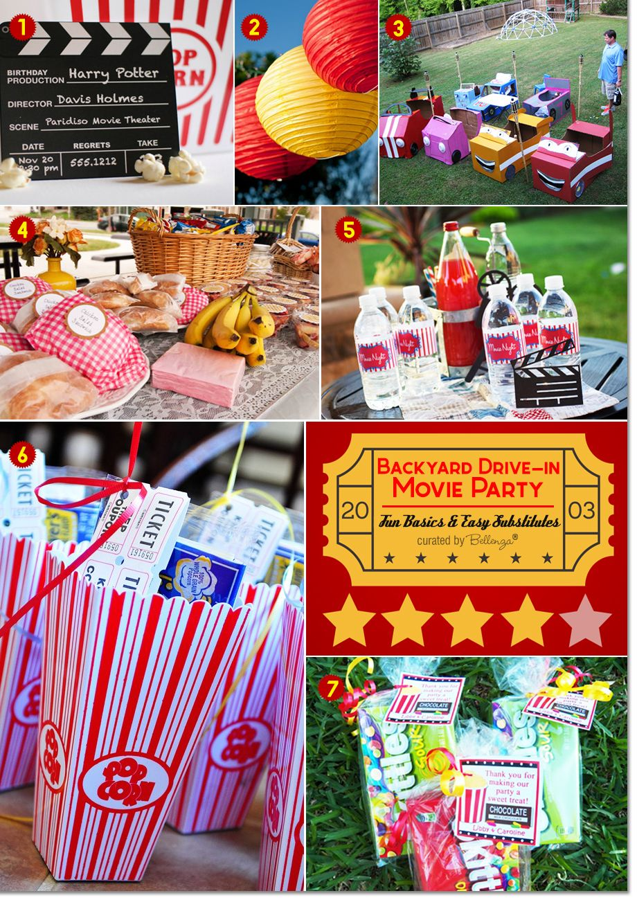 Backyard Drivein Movie Party Ideas Picnic foods, Movie