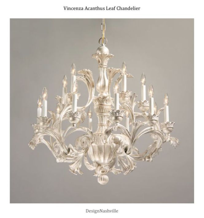 Vincenza Acanthus Leaf Chandelier Silver Decape Finish Hand Carved Wood And Wrought Iron