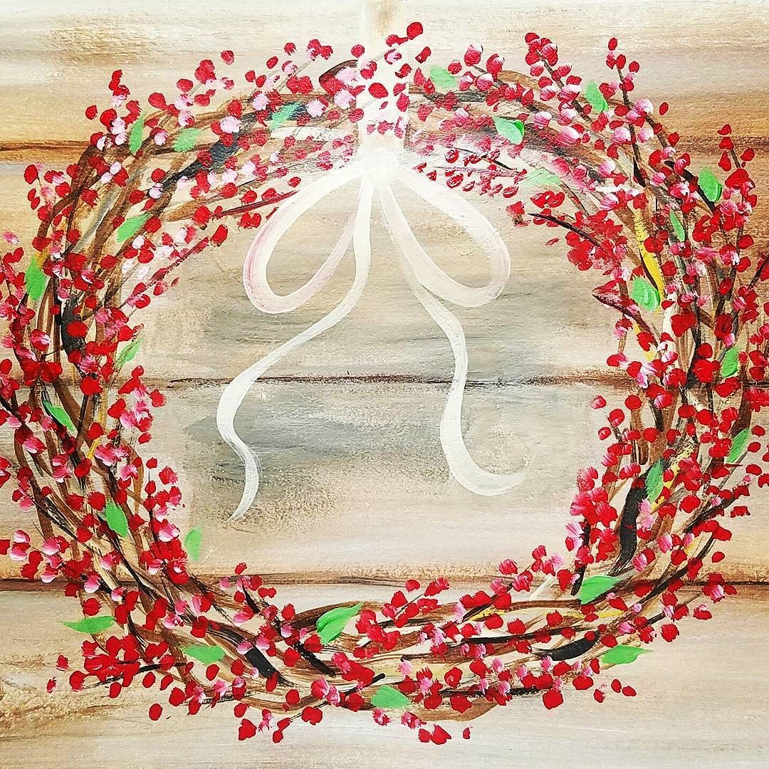 Rustic WREATH with ANY COLOR Berries Acrylic Painting