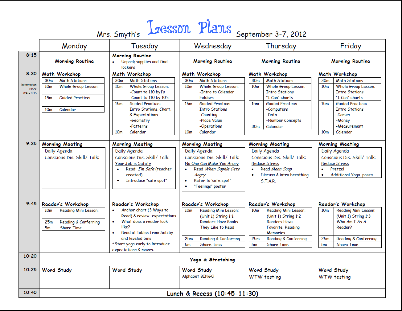 First Week Lesson Plans First Grade