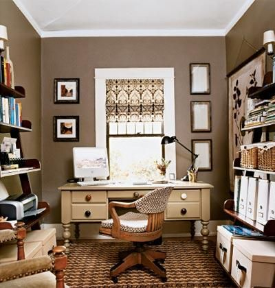 Dens Libraries Offices Brown Neutral Home Office Business Casual Taupe Paint