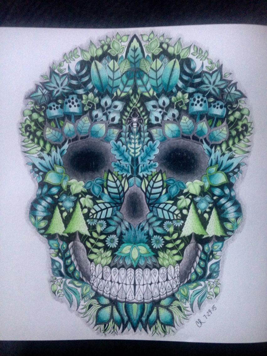 Johanna Basford Enchanted Forest Skull Coloring