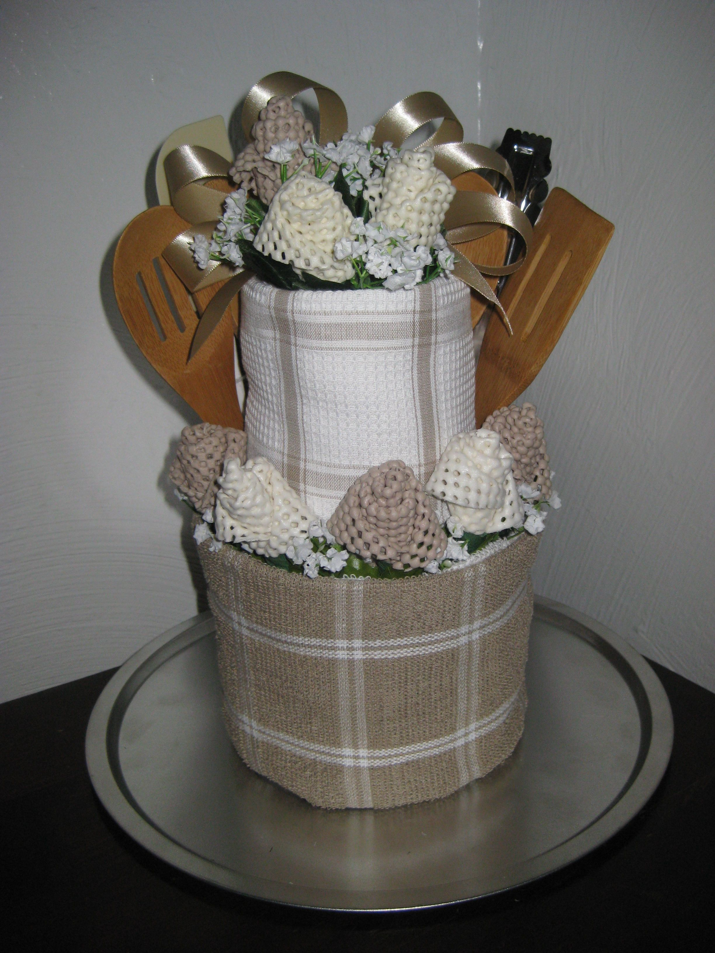 Towel Cake Housewarming Gift made with rolled kitchen