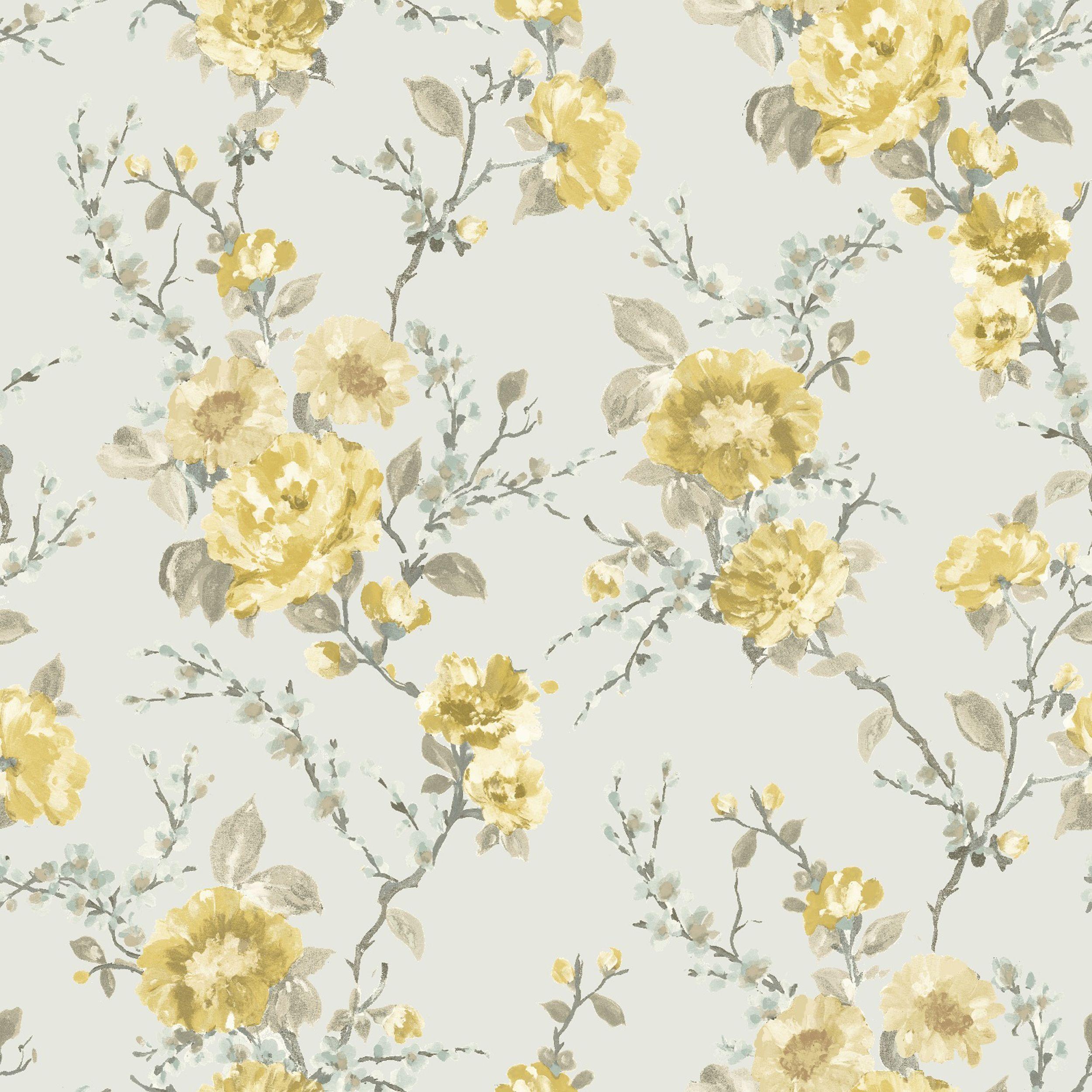 K2 Lucy Duck Egg & Yellow Floral Wallpaper Eggs, Duck