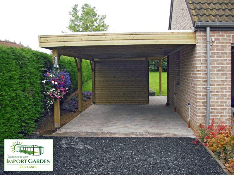 carport toit plat avec brise vue Import Garden Carports