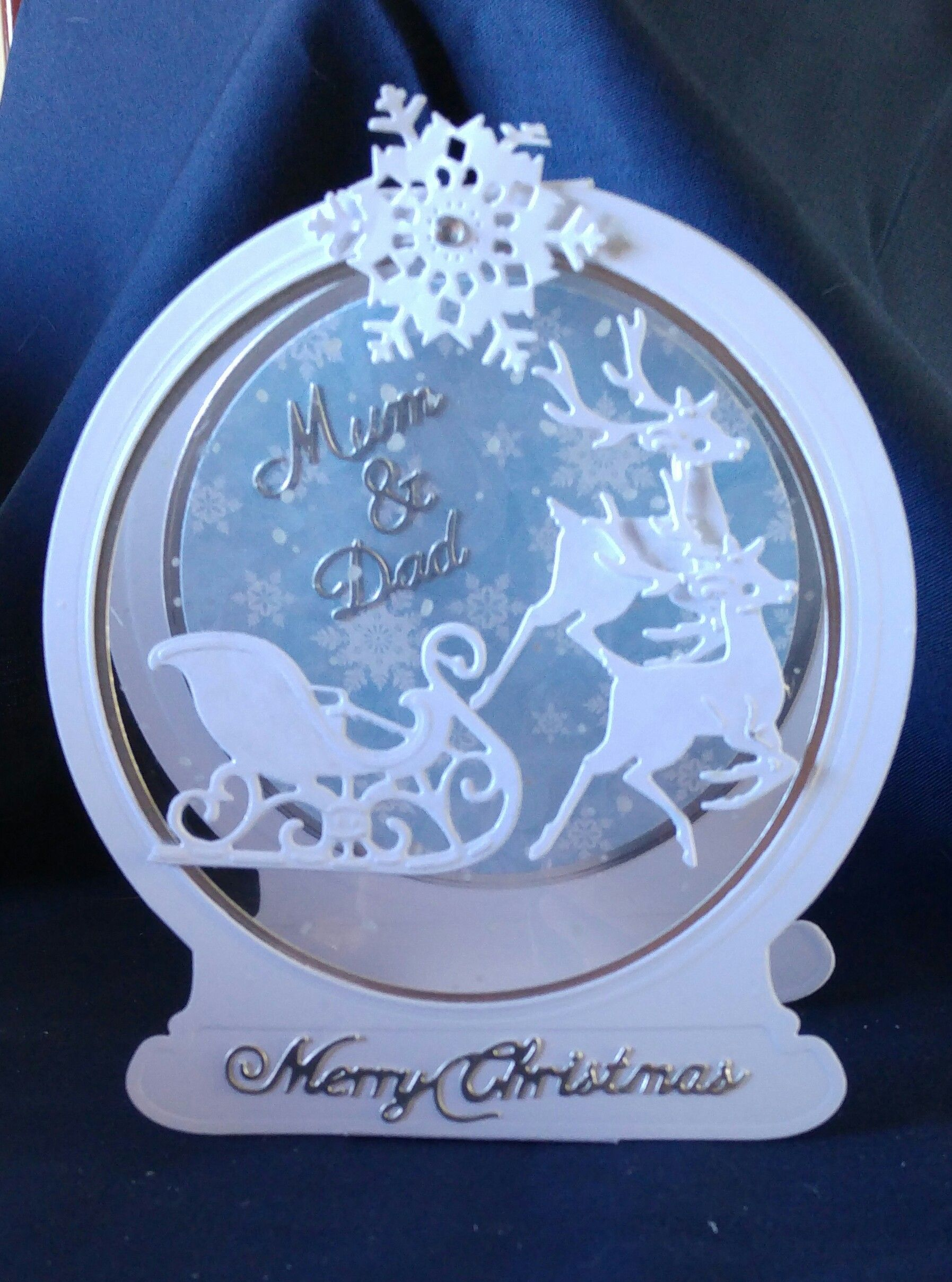 Tattered Lace Snowglobe and Reindeer and Sleigh card