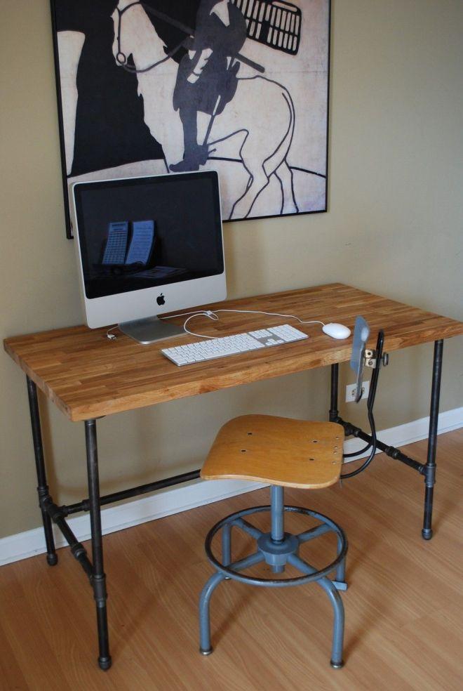 Industrial modern steel pipe and oak desk workplace