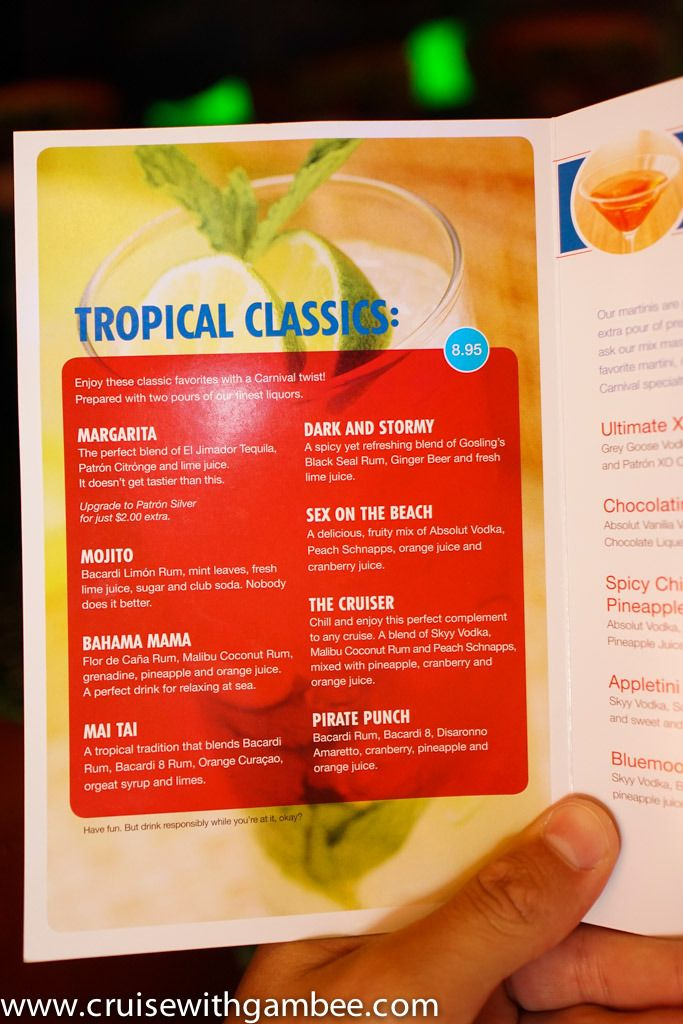 Carnival Cruise Line Drink Prices cruise with gambee