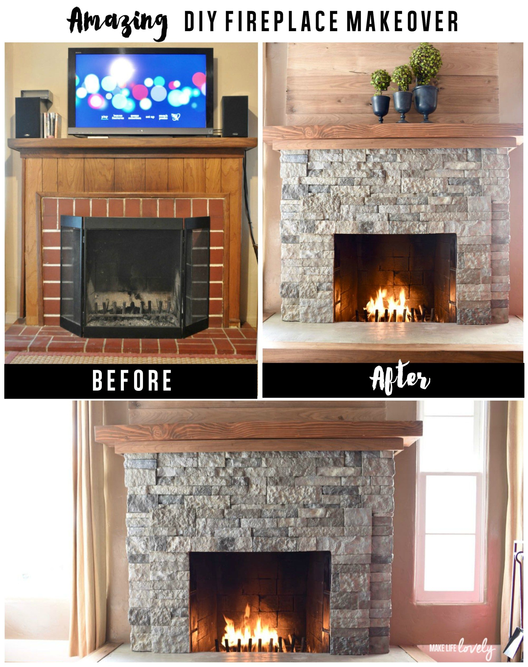 AirStone Fireplace Makeover Airstone fireplace, Airstone