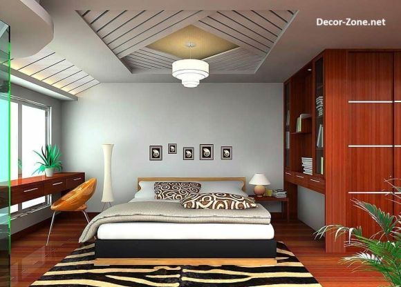 simple bedroom ceiling designs made of gypsum with crystal ...