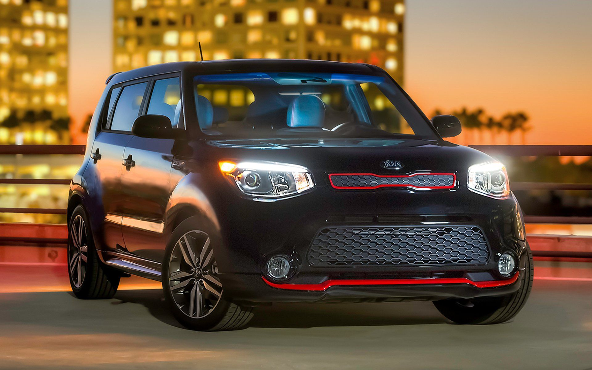 black kia soul with red trim and sunroof 2015 photo