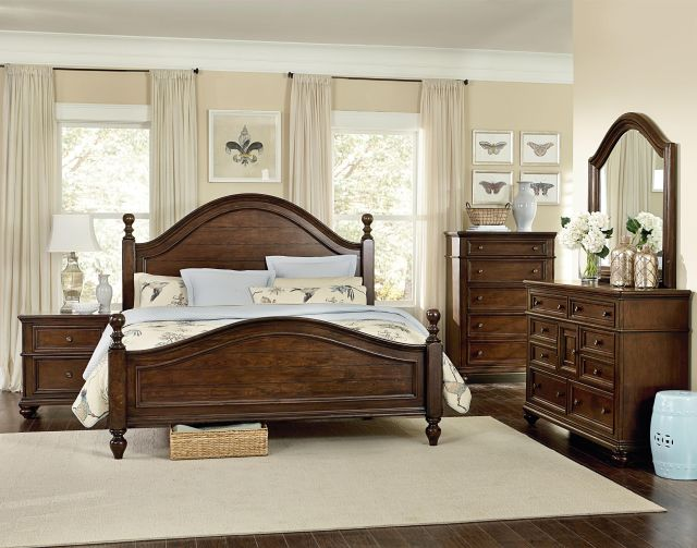 Heritage King Poster Bed with Curved Headboard and Footboard by