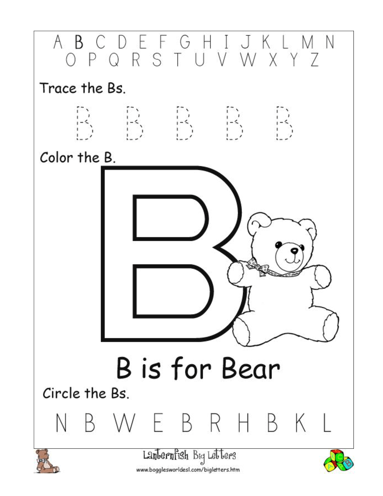 Alphabet Worksheet Big Letter B Doc