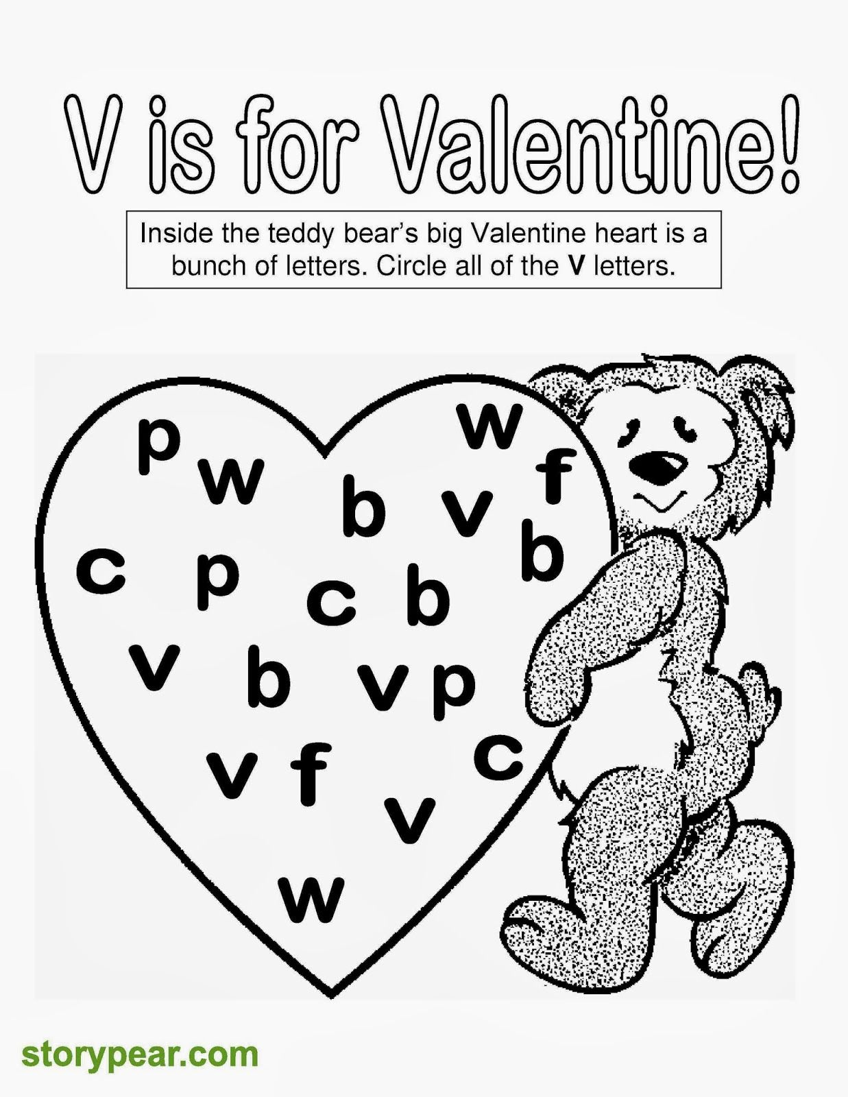 Story Pear Free Valentine Day S Printable Sheets For Preschoolers