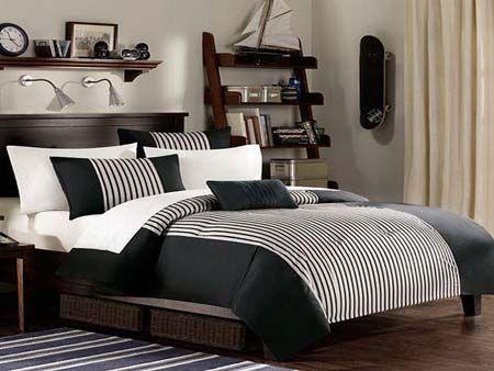 Black White Gray Bedroom Decor Design Idea Dorm Bed Elegant Modern Minimalistic Interesting Inspiration Unique Color Combination Masculine Jpg No